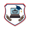 Shield emblem with graduation cap and laptop