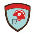 Shield emblem with side view american football helmet