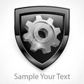 Shield with gear in grey on white mechanical illustration Royalty Free Stock Images