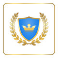 Shield gold laurel wreath icon crown white Royalty Free Stock Photo