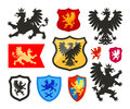 Shield with griffin, gryphon, eagle vector logo. Coat of arms, heraldry set icons
