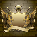 Shield with gryphons Royalty Free Stock Photo