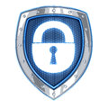 Shield and lock security done in d isolated Stock Photo