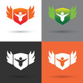Shield logo and vector whit background Stock Photo