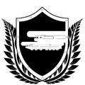 Shield and missile carrier the image of a carrying a nuclear warhead in a frame of laurel branches black white illustration on a Royalty Free Stock Photography