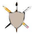 Shield with a pencil, art pen and brush. Heraldry for learning and creativity. Vector Image.