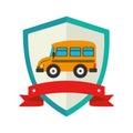Shield school bus with ribbon
