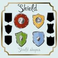 Shield shape icons set. Black label signs, isolated on white background. Symbol of protection, arms, security, safety Royalty Free Stock Photo