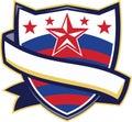 Shield With Stars and Stripes Ribbon Retro Royalty Free Stock Photo