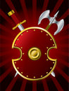 Shield with a sword and axe Royalty Free Stock Photo