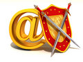 Shield, sword with symbol for internet. Royalty Free Stock Images
