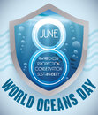 Shield with Underwater View and Reminder Date for Oceans Day, Vector Illustration