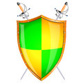 Shield vector ilustration with swords Stock Image