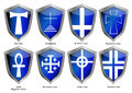 Shields with crosses of world religions Stock Image