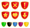 Shields with icons Royalty Free Stock Images