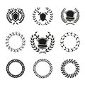 Shields and wreaths labels variety vector black white can be used for logos Stock Photo