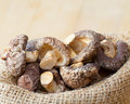 Shiitake mushroom in hessian bag dried on wooden kitchen table Stock Photos