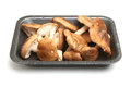 Shiitake mushrooms pack isolated in styrofoam packaging tray Stock Photos