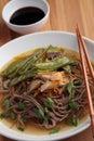 Shiitake, soba, and green bean soup Royalty Free Stock Photo