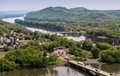 Shikellamy park overlook pennsylvania landscape view of the confluence of the west and north branches of the susquehanna river Royalty Free Stock Image
