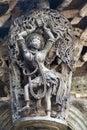 Shilabalika, celestial maiden, as a Dolu Kunita. A lady is palying a drum and dancing . Chennakeshava temple, Belur, Karnataka. No Royalty Free Stock Photo