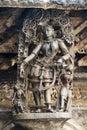 Shilabalika, celestial maiden, as a Gypsy girl. Chennakeshava temple, Belur, Karnataka. Notice the hairstyle. Royalty Free Stock Photo