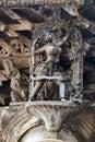 Shilabalika, celestial maiden, as a Huntress. Lady aiming arrow at the bird. Chennakeshava temple, Belur, Karnataka. Notice the ha Royalty Free Stock Photo