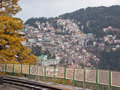Shimla townscape india one of the densely populated hillsides in northern the town in the foothills of the himalayas was a summer Royalty Free Stock Photography