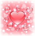 Shimmering background with glassy hearts for valentine day illustration Stock Image