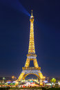 Shimmering Eiffel Tower at night in Paris,  France Royalty Free Stock Photo