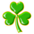 Shimmering Green Shamrock with Gold Trim Royalty Free Stock Photos