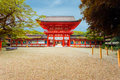 Shimogamo shrine centered front entrance blue sky clear at tower gate and open door to formally known as kamo mioya jinja one of Royalty Free Stock Photos