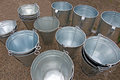 Shine of draw well buckets selling new and attractive handmade on a village fair Stock Photo