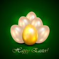 Shine easter eggs set of on green background illustration Royalty Free Stock Photography