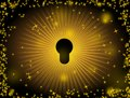 Shine keyhole with yellow light on black background Royalty Free Stock Photography