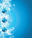 Shining blue christmas balls on the background wit with snowflakes illustration Stock Photography