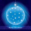 Shining blue glossy christmas ball Stock Photos