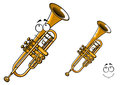 Shining brass trumpet cartoon character shy smiling showing polished wind musical instrument with funny face suitable for Royalty Free Stock Photos
