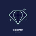 Shining brilliant illustration. Diamond jewelry flat line icon, gem stone store logo. Jewels luxury accessories sign Royalty Free Stock Photo