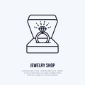 Shining brilliant ring in gift box illustration. Jewelry flat line icon, jewellery store logo. Jewels engagement