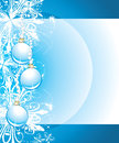 Shining christmas balls on the blue background wit with snowflakes illustration Stock Photography