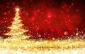 Shining Christmas Tree - Golden Glitter sparkling Royalty Free Stock Photo