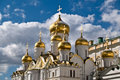 Shining domes of annunciation over skies in moscow kremlin built by russian masters between and the cathedral was the domestic Royalty Free Stock Photos