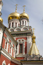 Shining domes of red church Royalty Free Stock Images