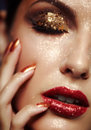 Shining face makeup beautiful young woman with Royalty Free Stock Images