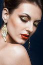 Shining face makeup beautiful young woman with vogue Stock Photo
