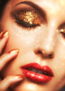 Shining face makeup Royalty Free Stock Photo