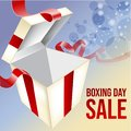 Shining Gift Box with Fireworks. Boxing Day Sale Flyer. Vector illustration