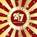 Shining gold circle vintage banner with lights on retro red and golden background. New Year 2017 concept Royalty Free Stock Photo