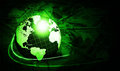 Shining green globe with dollars Royalty Free Stock Photos